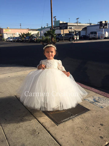 Madeline Baptism Dress beaded lace