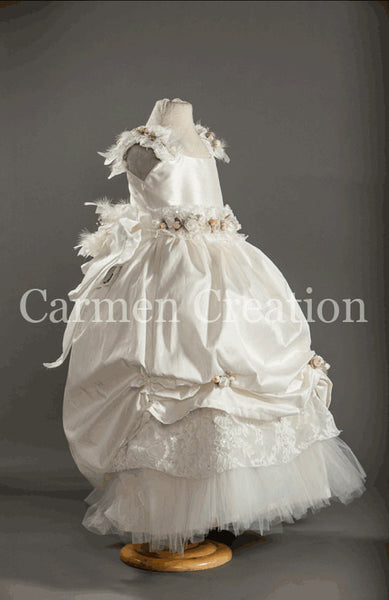 Victorian Christening Dress with Feathers