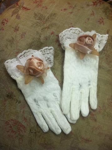 Victorian Lace Gloves Decorated
