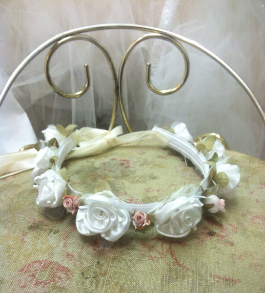Ivory / Peach Flower Crown