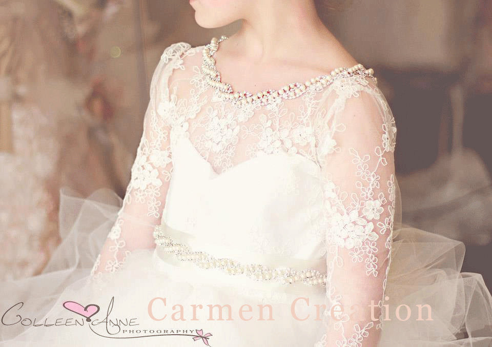 30a4f3233 Couture Flower Girl Dress with Long Sleeves. – Carmen Creation