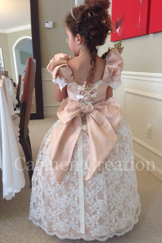 c937c535f7 Beautiful Blush Venetian Flower Girl Dress – Carmen Creation