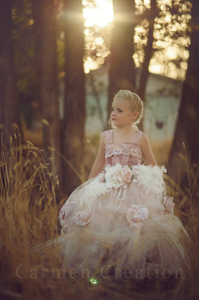 Mauve Flower Girl Dress