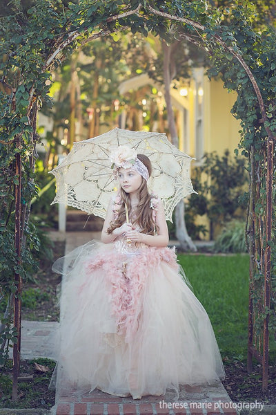 Vintage Fairy Dress Ivory/Blush
