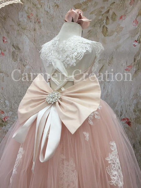 Lace Adorned Flower Girl Dresss