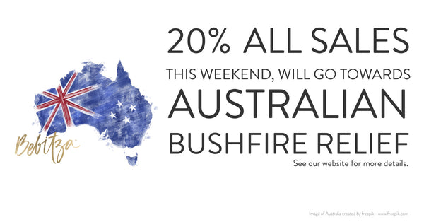 20% all sales this weekend will go towards Australian bushfire relief.