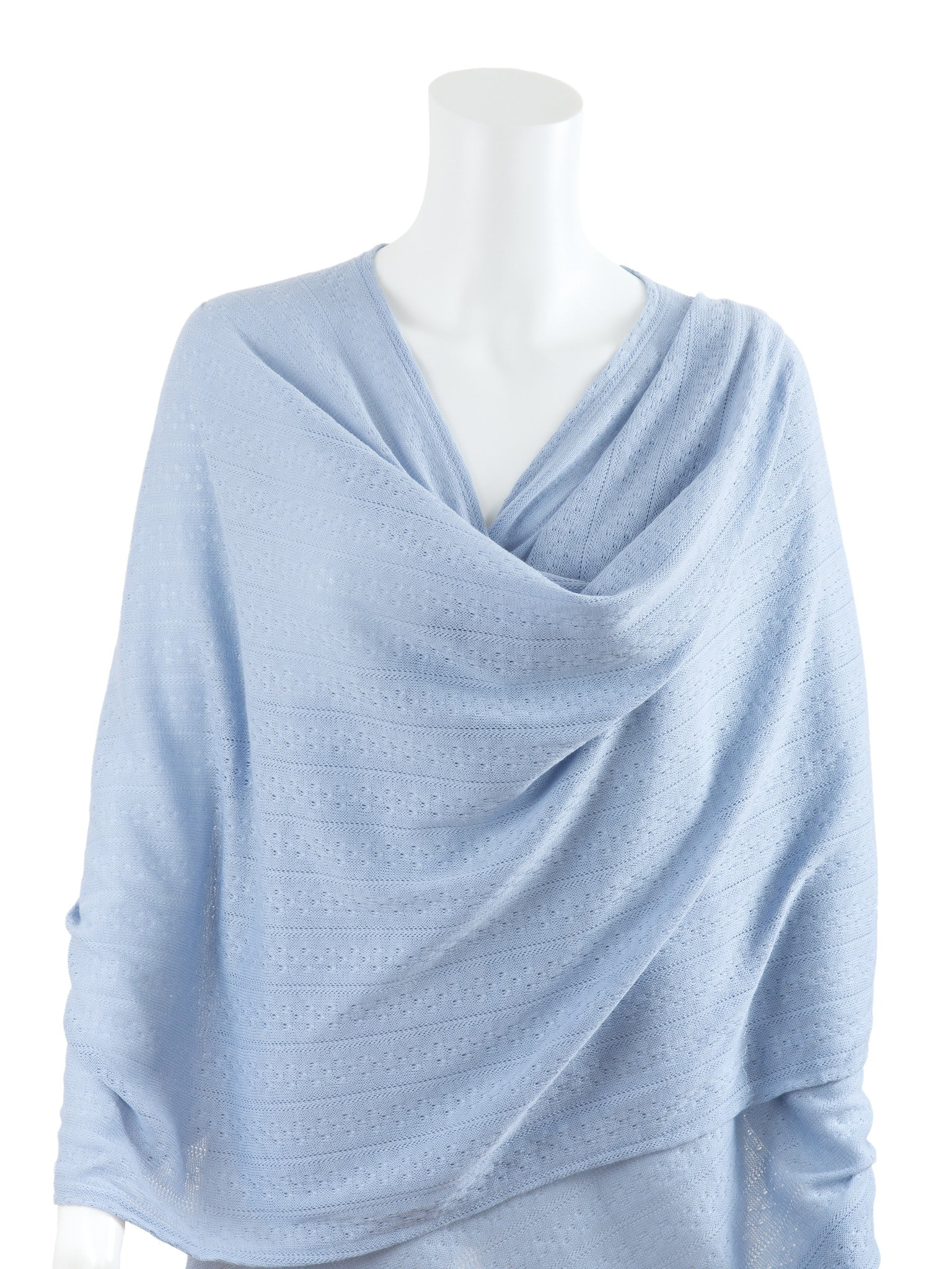 Blue Textured Knit Nursing Cover