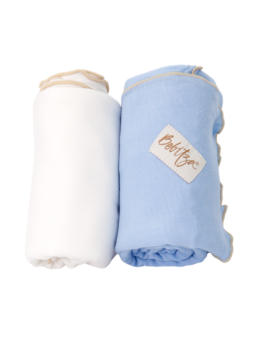 Baby Wrap - Antibacterial Bamboo - Double Pack - Cream/Blue