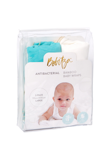 Baby Wrap - Antibacterial Bamboo - Double Pack - Cream/Green