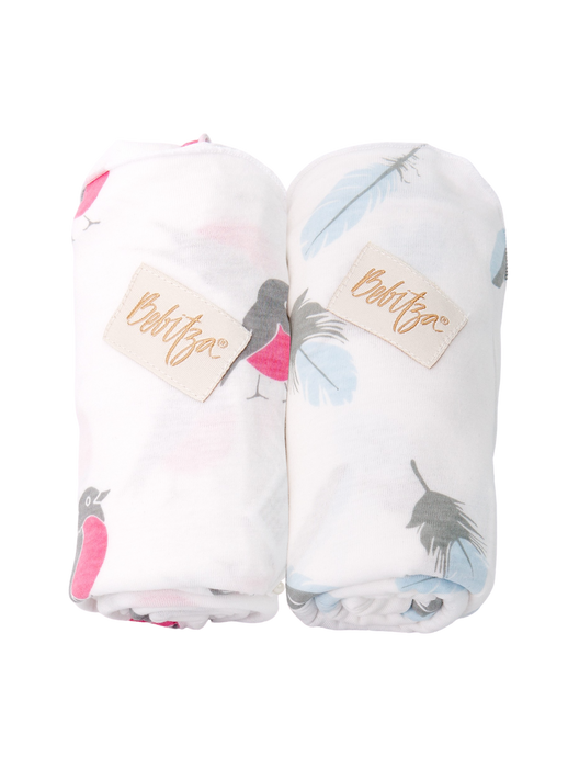 Baby Wrap - Antibacterial Bamboo - Double Pack - Feather/Bird