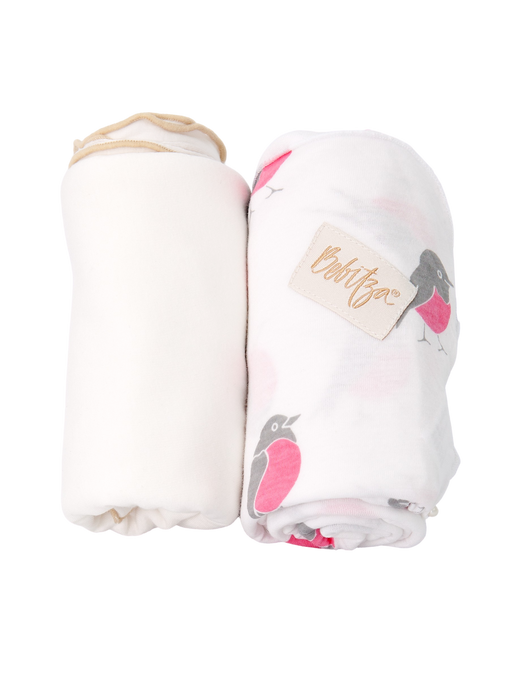 Baby Wrap - Antibacterial Bamboo - Double Pack - Cream/Bird