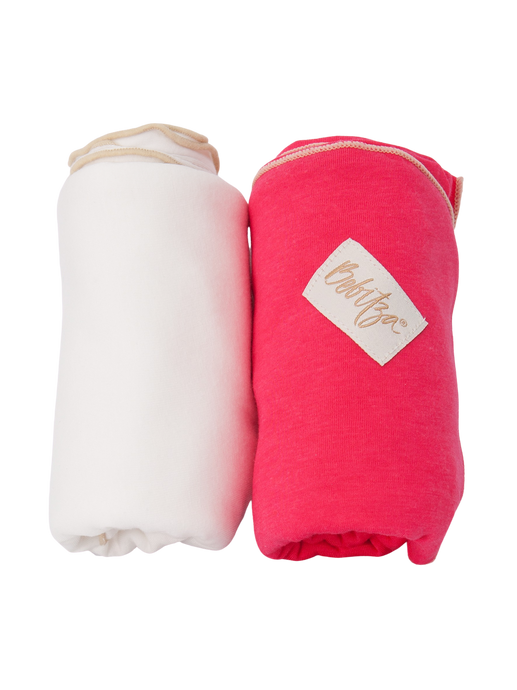 Baby Wrap - Antibacterial Bamboo - Double Pack - Cream/Dark Pink