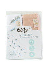 Load image into Gallery viewer, Supersoft Muslin Burp Pad - Double Pack - Feather/Rose Pink