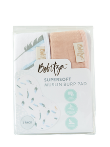 Supersoft Muslin Burp Pad - Double Pack - Feather/Rose Pink