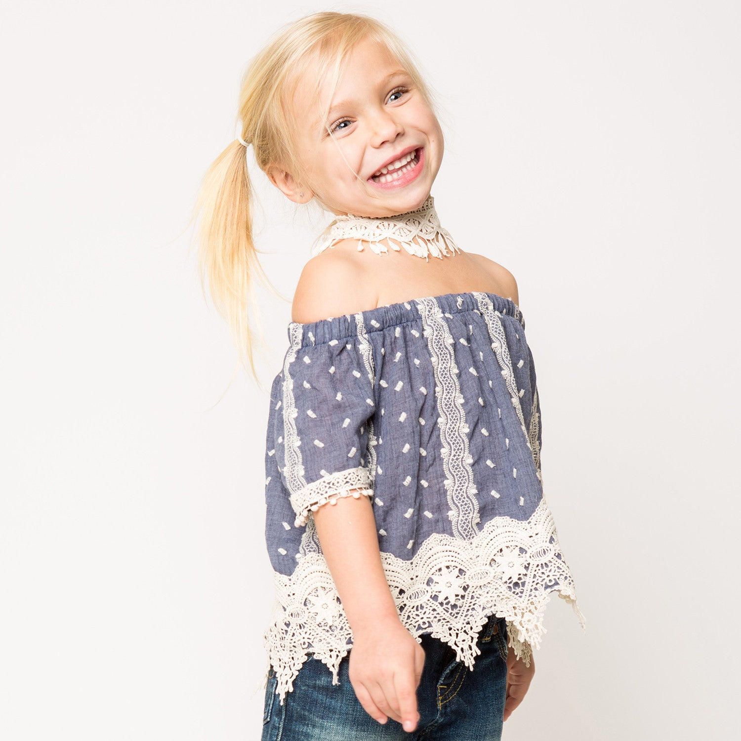 Crochet Lace Trim Blouse for Girls