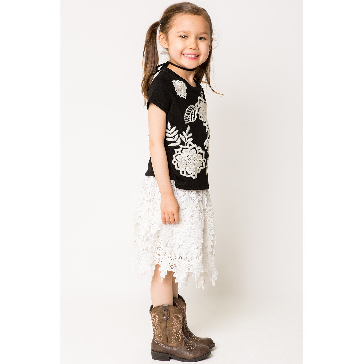 Scallop Lace Panel Skirt for Girls