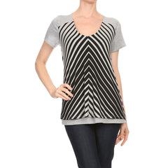 Engineered Stripe Overlay Top
