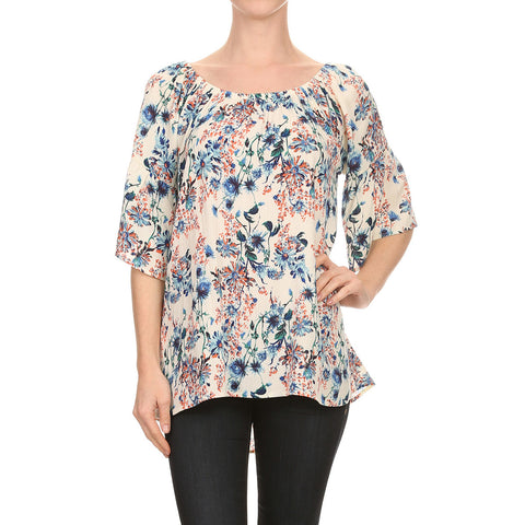 Floral Print ON/OFF The Shoulder Blouse