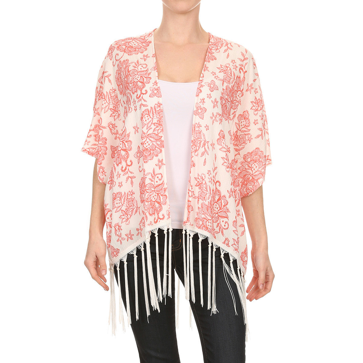 Floral Print Cardigan With Fringe
