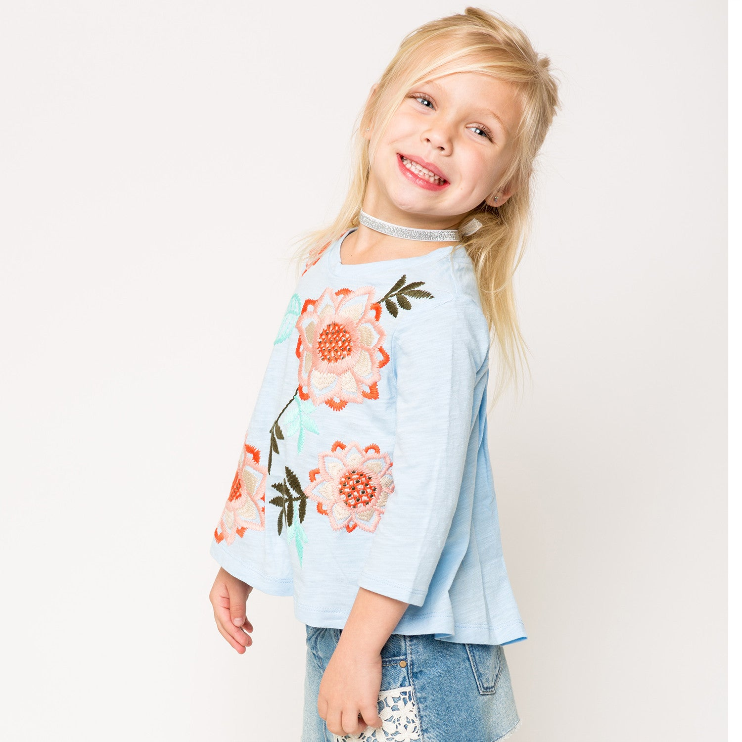 1ec6e9ad70e5 Embroidered Pleated Back Knit T-Shirt for Girls – illustrated DREAMS ...