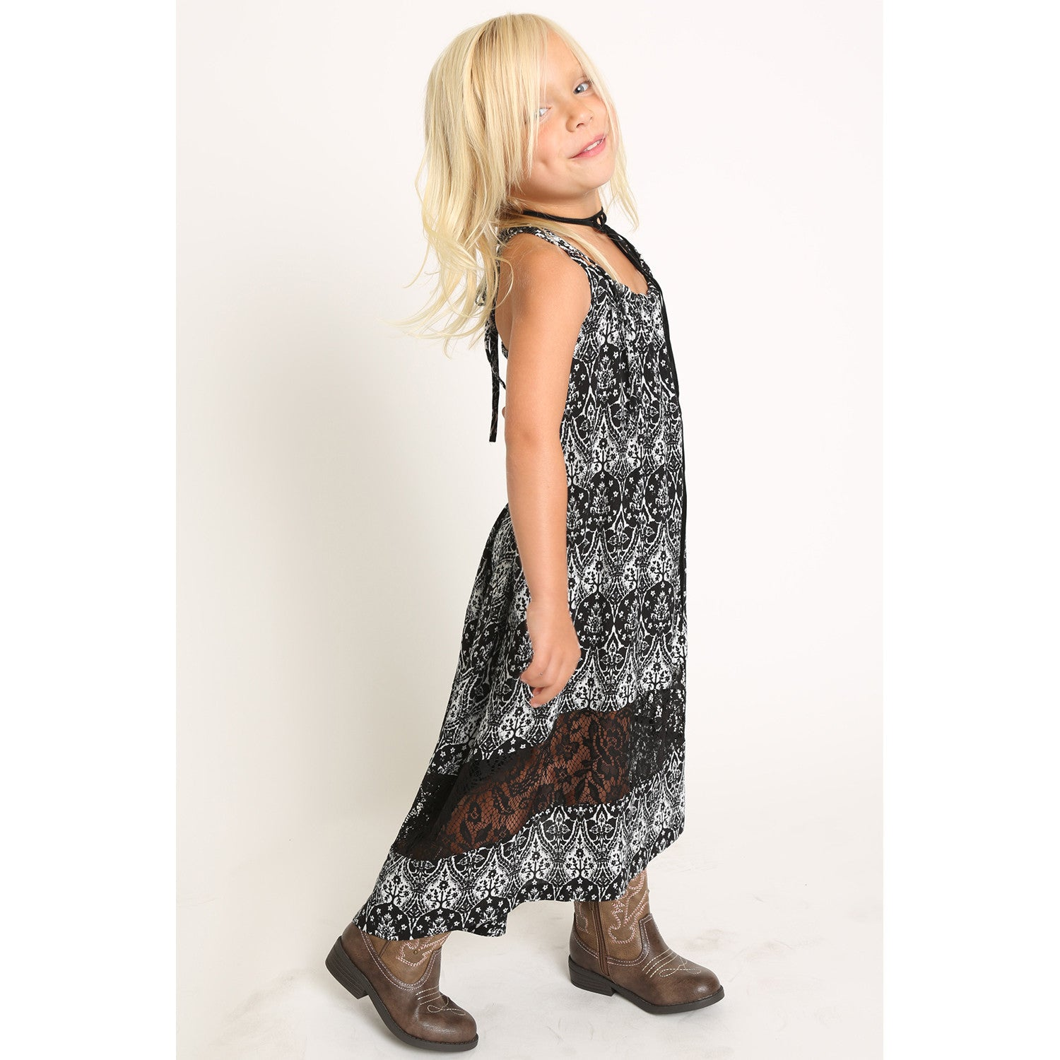 Boho Hi/Lo Strappy Dress front side view 2