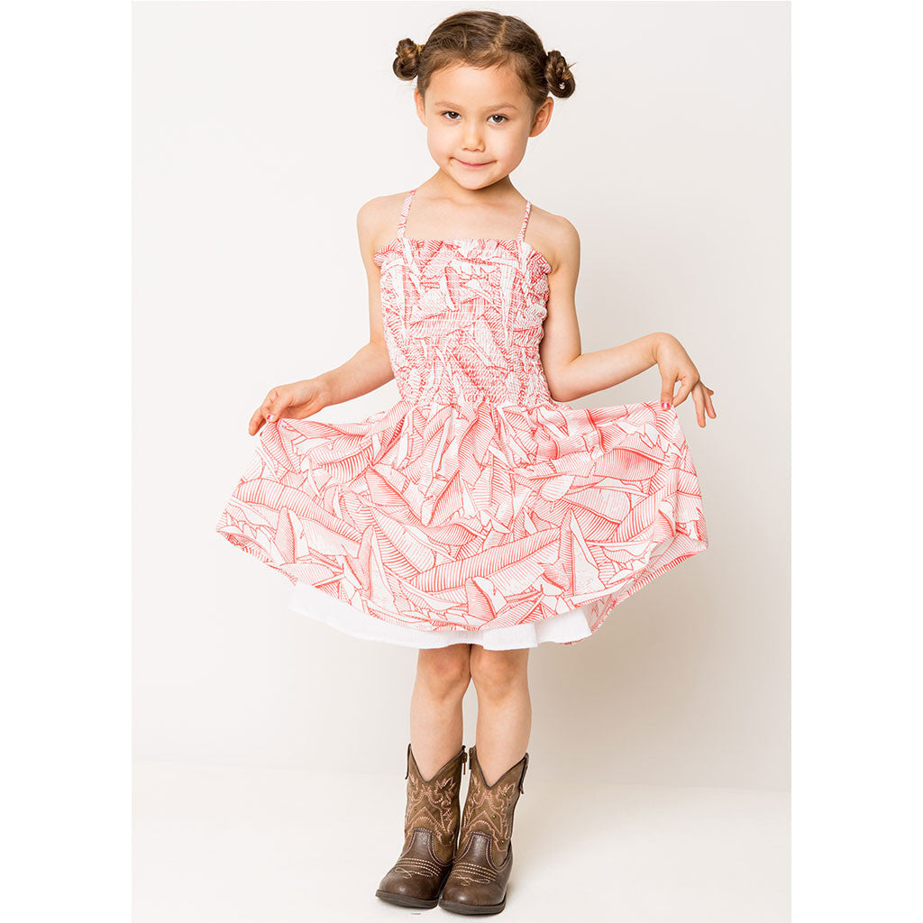 Spring Leaves Smock Dress For Girls