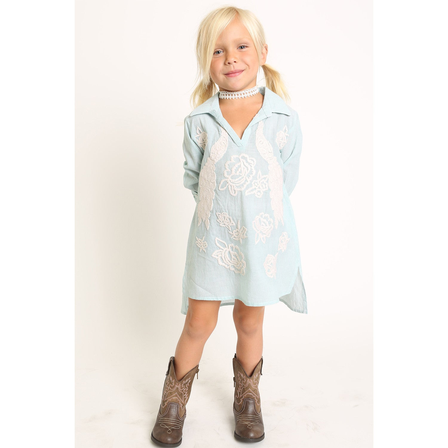 89f84f642ae1 Peacock Embroidery Collar Shirt Dress for Girls – illustrated DREAMS ...