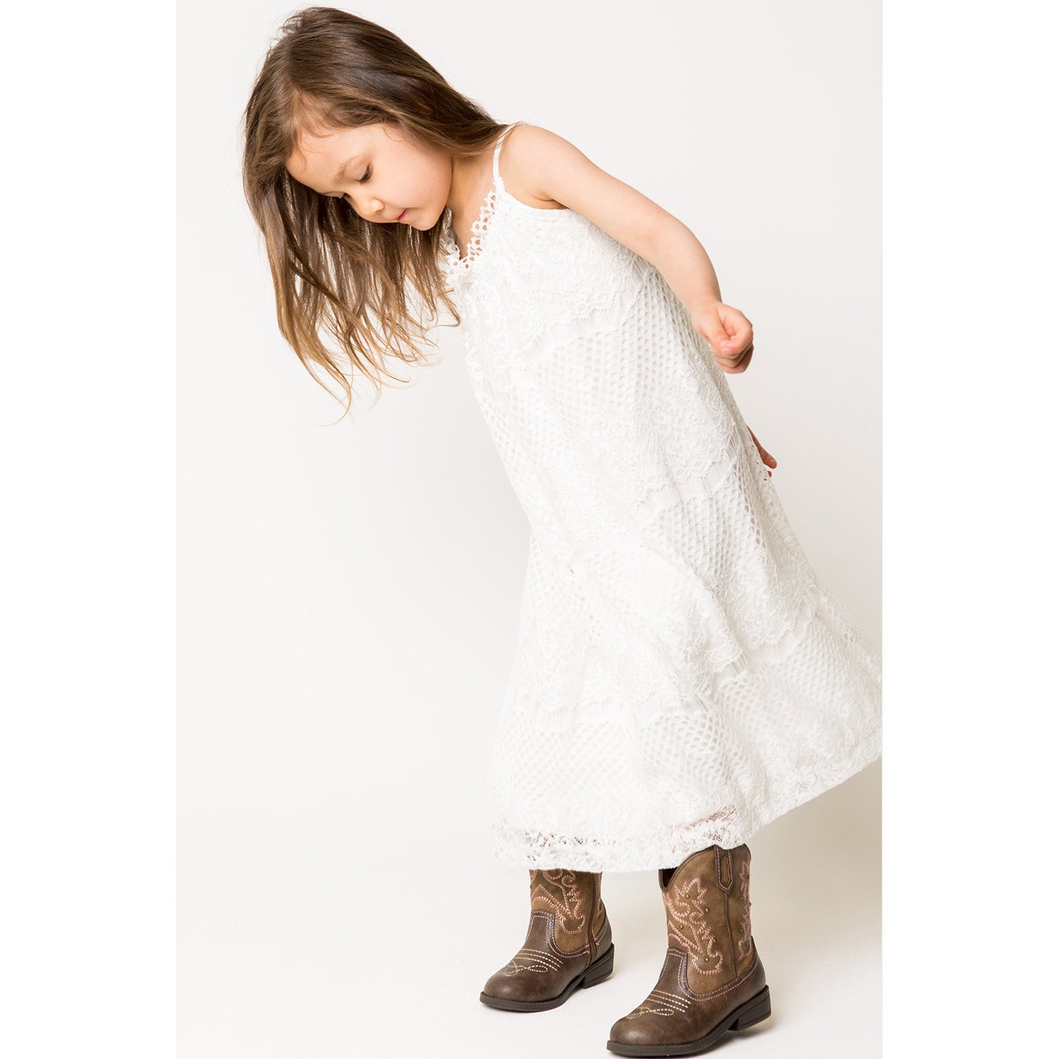 Hi/Lo Strappy Lace Dress for Girls