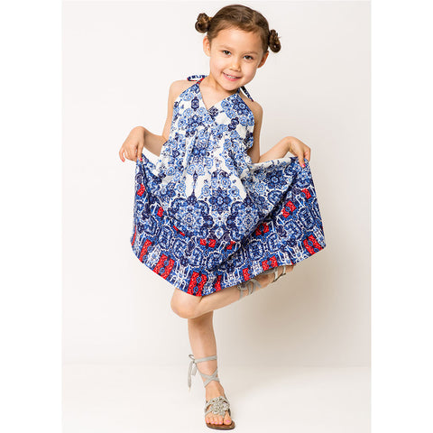 Border Print Sun Dress For Girls