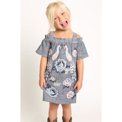 Peacock Embroidery Cold Shoulder Chambray Dress for Girls