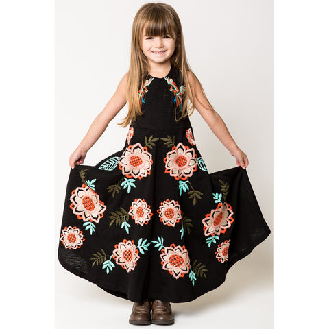 Bird + Floral Embroidery Halter Maxi Dress for Girls