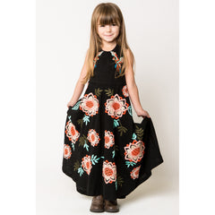 Bird and Floral Embroidery Halter Maxi Dress black front view 2