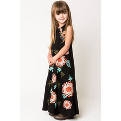 Bird and Floral Embroidery Halter Maxi Dress black side view 1