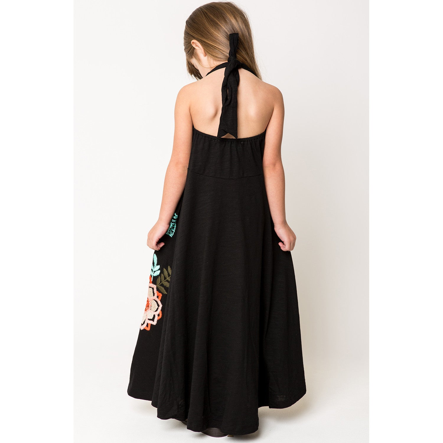 Bird and Floral Embroidery Halter Maxi Dress black back view 1
