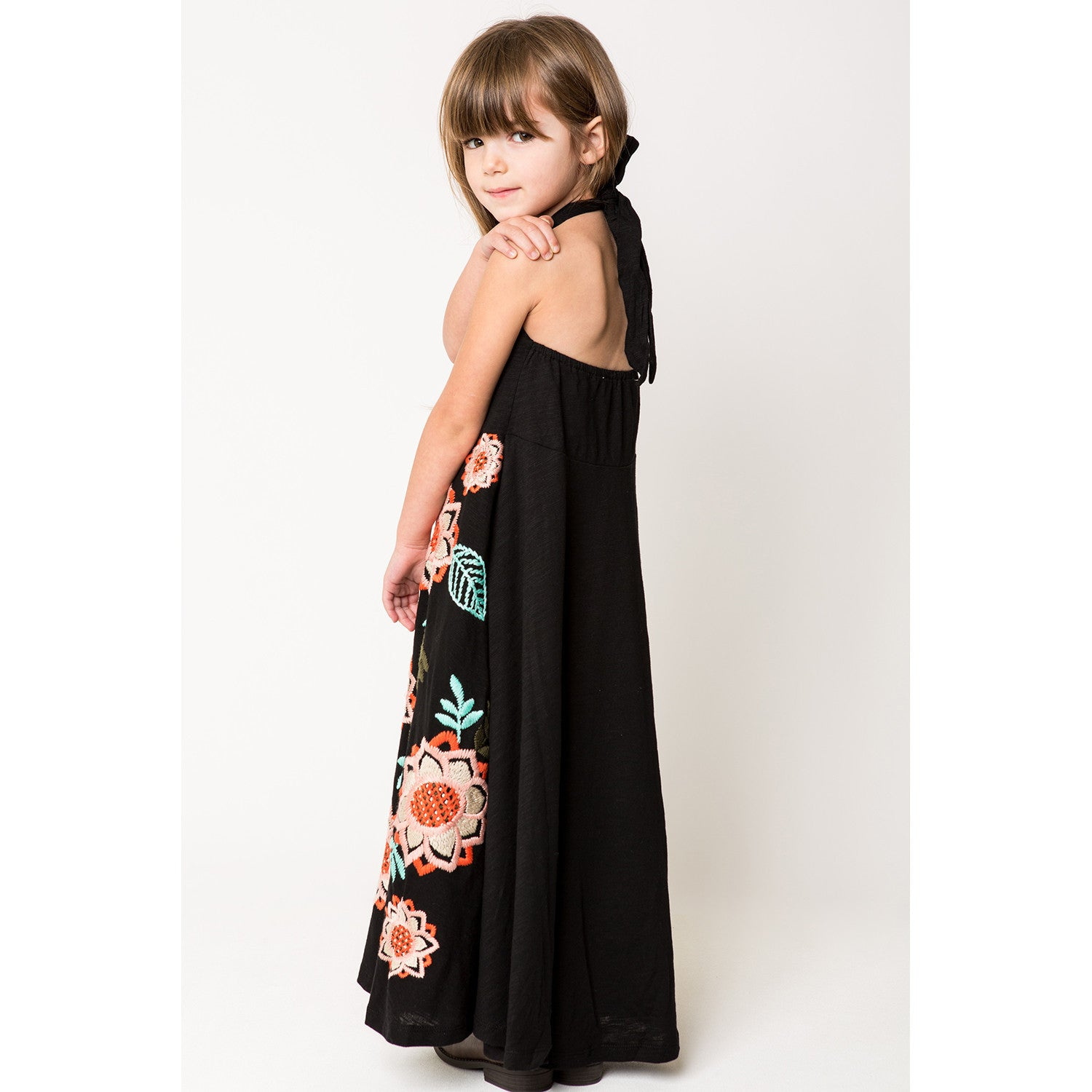 Bird and Floral Embroidery Halter Maxi Dress black side view 2
