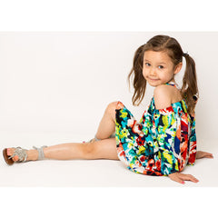 Multi Floral Cold Shoulder Dress For Girls