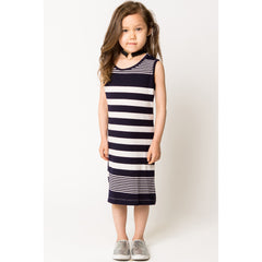 Rib Stripe Tank Dress for Girls