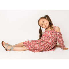 Ditsy Floral Cold Shoulder Dress For Girls