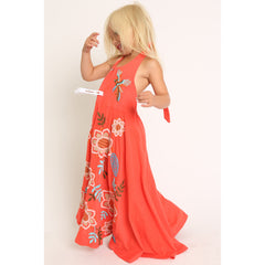 Bird and Floral Embroidery Halter Maxi Dress side view