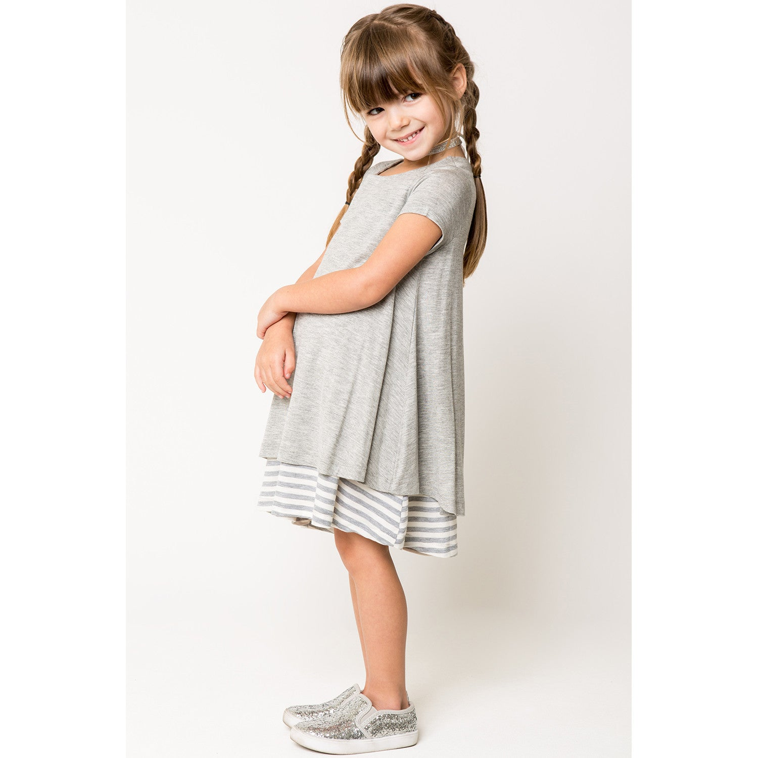 Mixed Media Stripe Overlay Dress for Girls