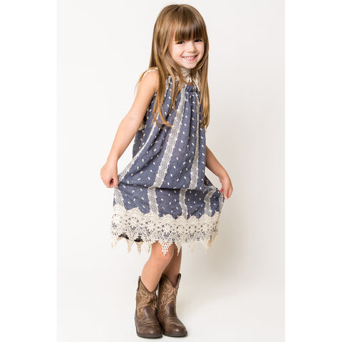 Crochet Lace Trim Dress for Girls