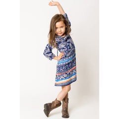 Paisley Border Print Dress for Girls