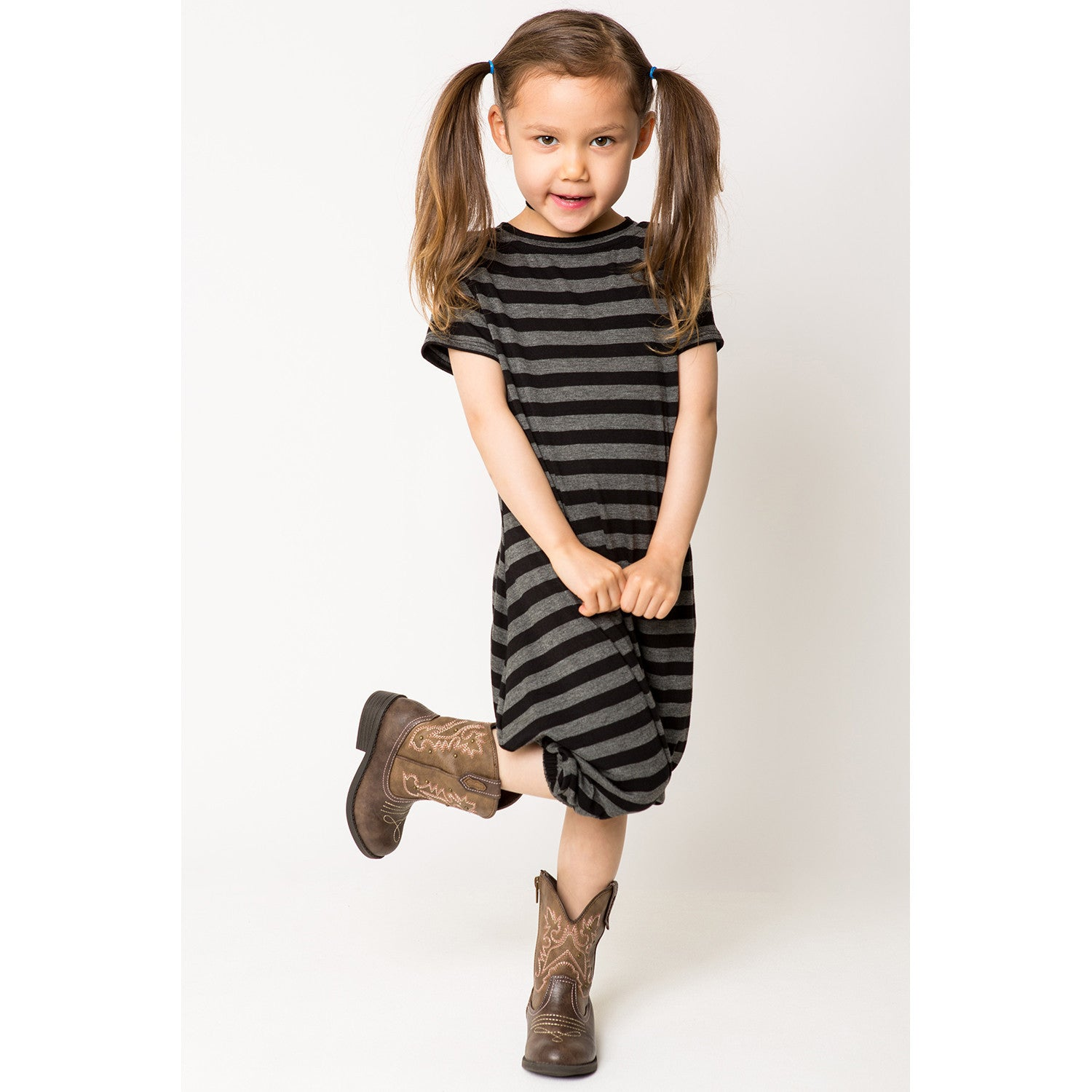 Puffed Hem Tee-Dress for Girls