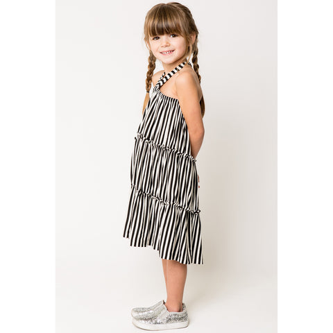 Shirred Strappy Dress In Stripe Knit for Girls