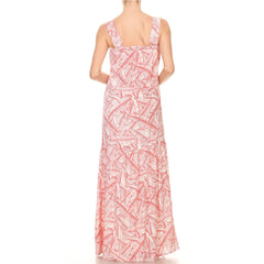 Spring Leaves Print Maxi Dress