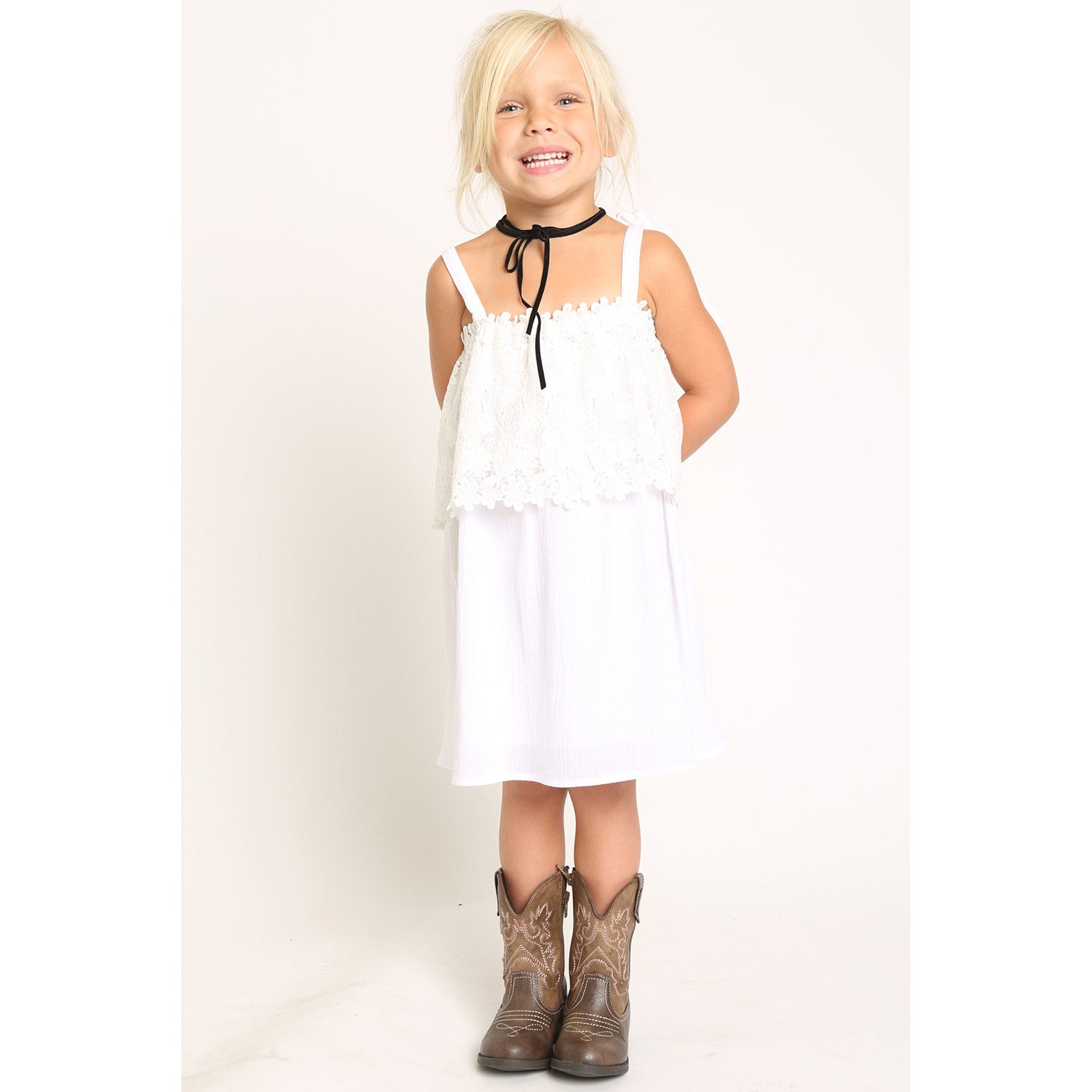 Scallop Lace Panel Dress w/ Tie Shoulder Strap for Girls