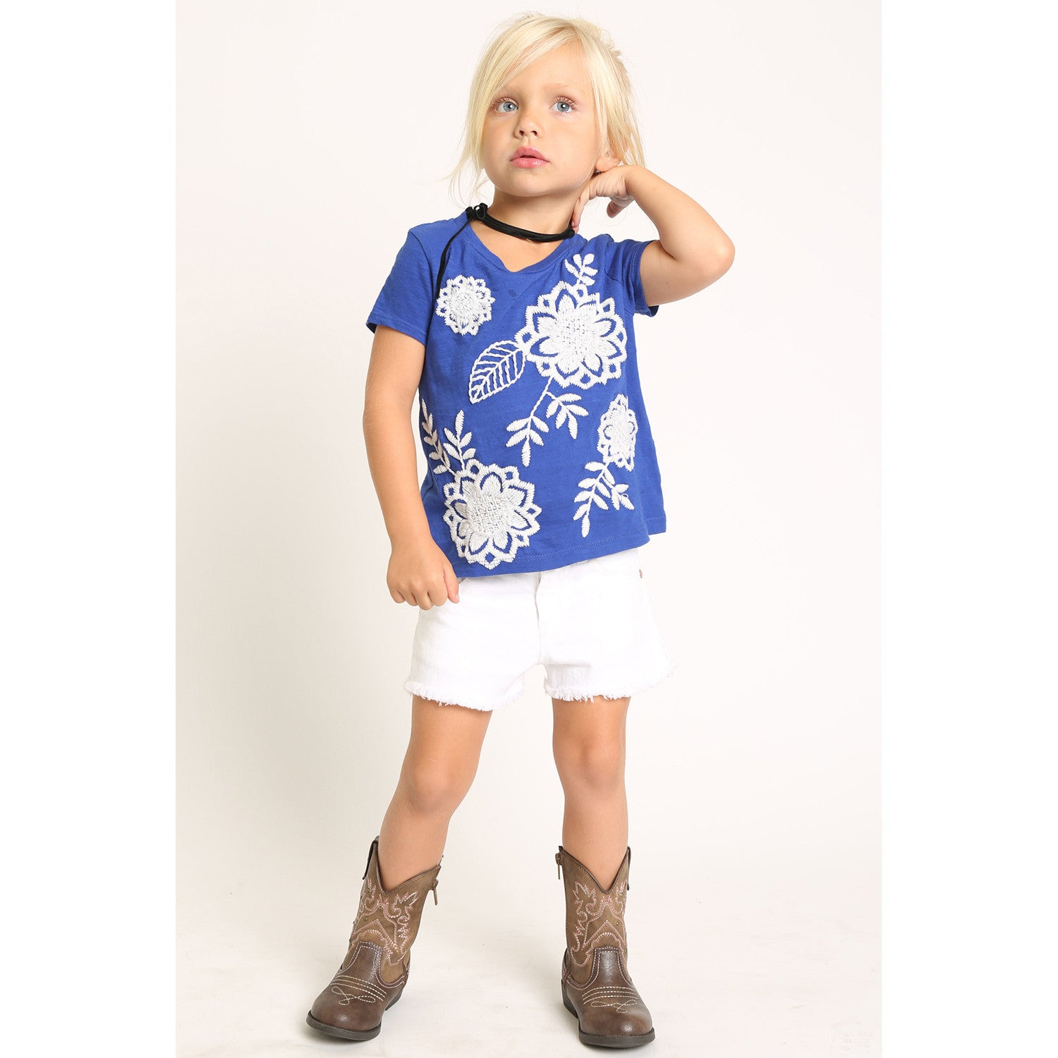 Floral Embroidery Short Sleeve T-Shirt for Girls