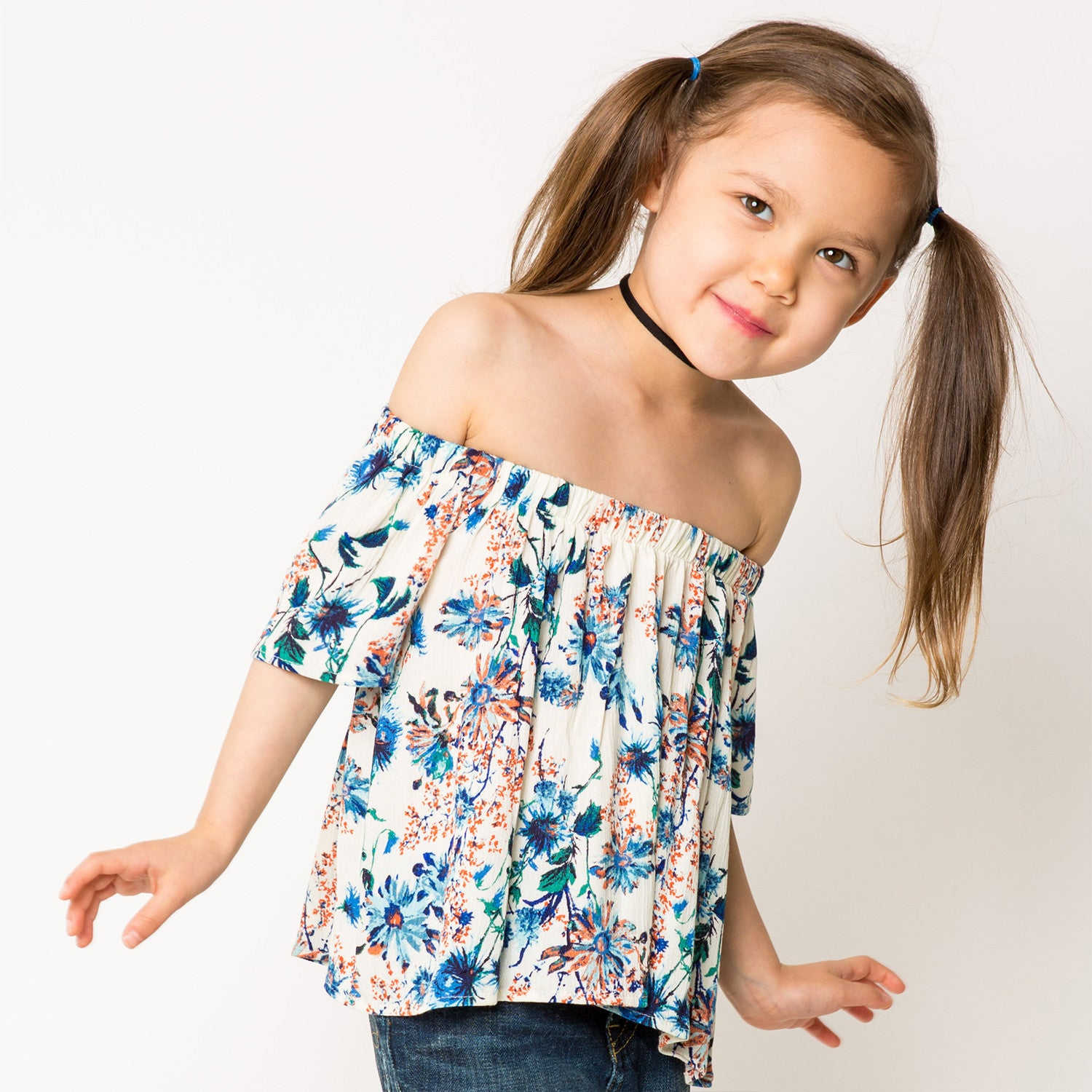 Floral Print ON/OFF The Shoulder Blouse for Girls