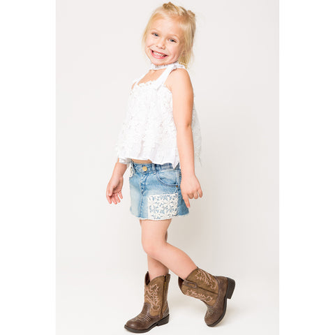 Scallop Lace Panel Top w/ Tie Shoulder Strap for Girls