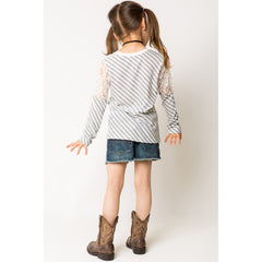 Long Sleeve Lace Contrast Stripe T-Shirts for Girls